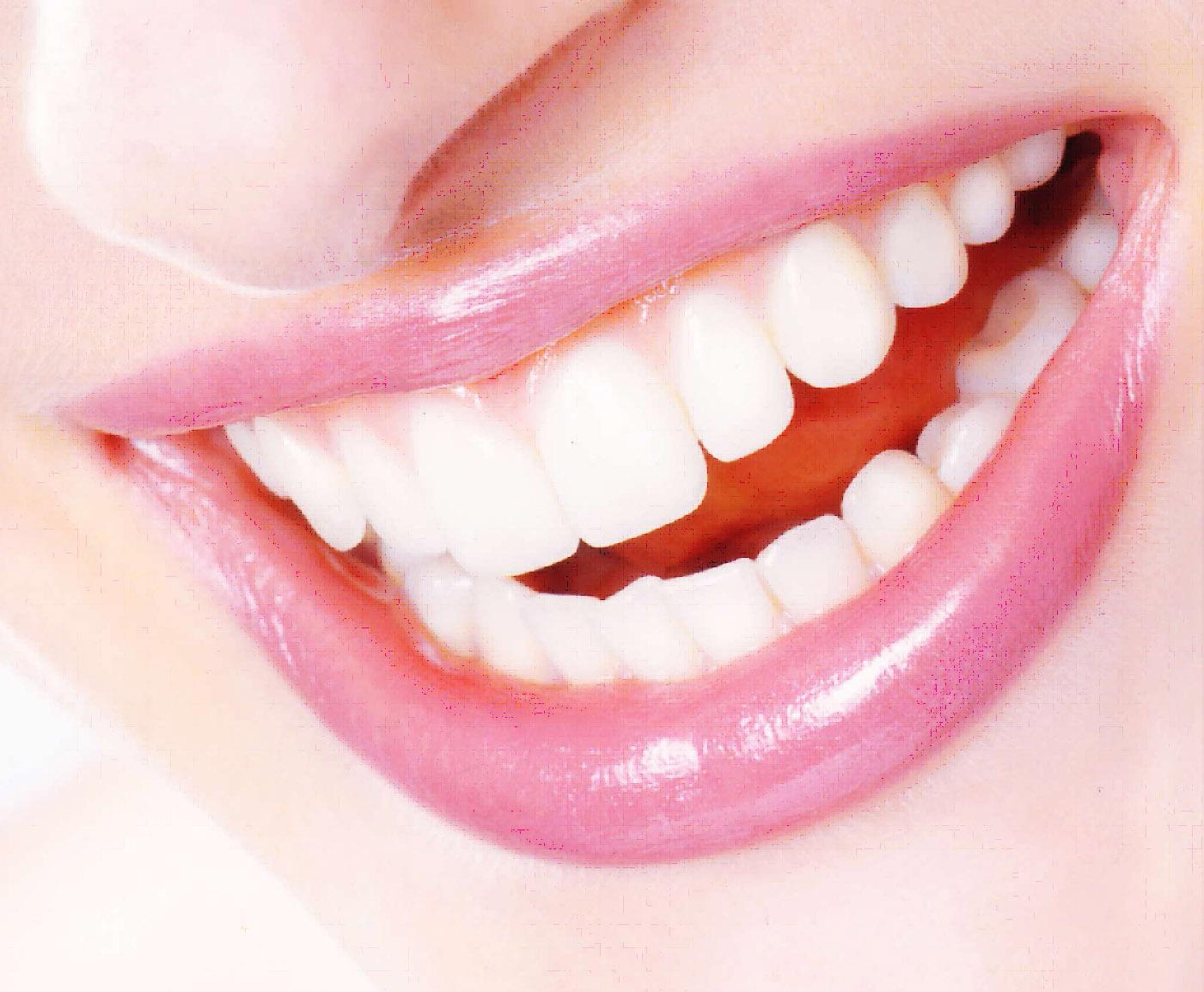 Lachender Mund rosa Lippen